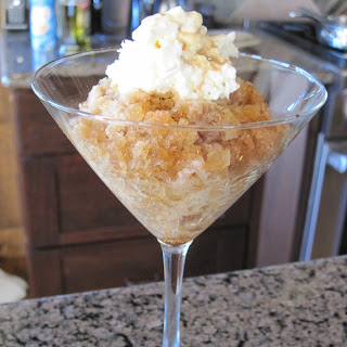 Coffee Granita with Whipped Cream - Drizzled with Baileys.
