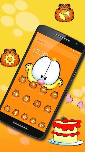 Orange Cartoon Cute Lazy Cat Theme 1.1.1 screenshots 1