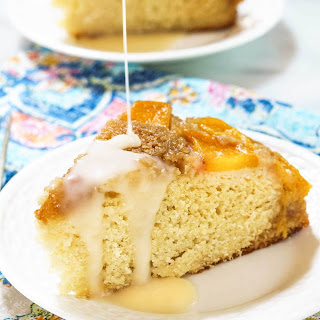 Upside-Down Peach Cake with Hot Rum Sauce