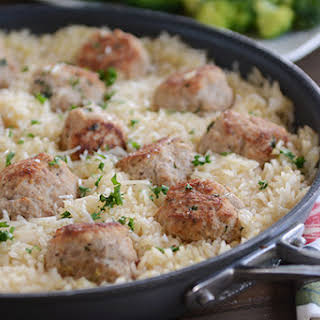 Skillet Turkey Meatballs with Lemon Rice.