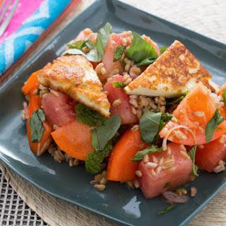 Tomato, Watermelon & Farro Salad with Seared Halloumi.
