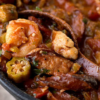 """Gumbo-laya"" Stew with Spicy Sausage, Chicken, Shrimp and Okra over Fragrant Garlic Rice."