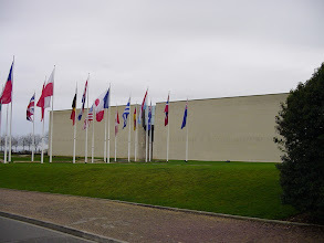 Photo: Our final stop of the day is at Le Memorial, the famous D-Day museum (opened in 1988) on the north side of Caen. The unusual entrance is meant to symbolize the opening of the continent which began with the D-Day landings not far north of here.