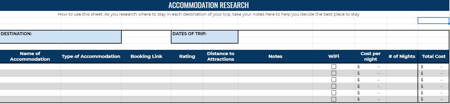 accommodation planner spreadsheet