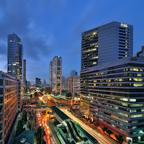 Night at Bangkok, Thailand by Chatchai Lakamankong - Buildings & Architecture Office Buildings & Hotels ( bangkok, building, sky, traffic, office buildings, thailand, light )