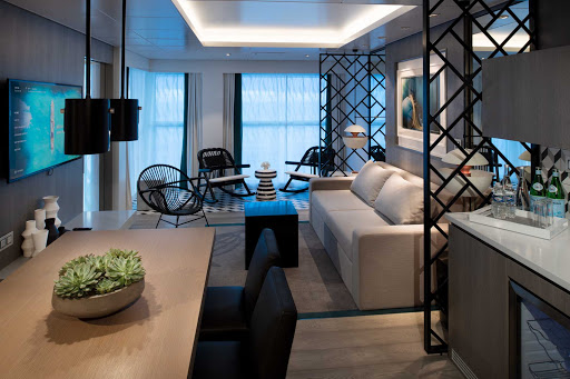 celebrity-edge-Royal-Suite-Living-Room.jpg - Celebrity Edge features four Royal Suites, each measuring 687 square feet, with a 72-square-foot balcony.