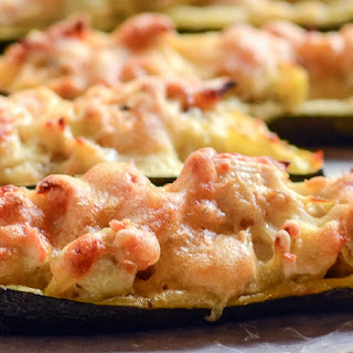 Crab and Artichoke Stuffed Zucchini (with dip option).
