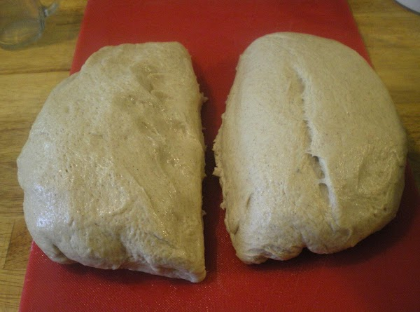 Punch dough down. Separate in half.