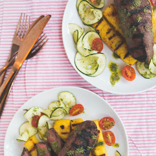 Grilled Truffle Glazed Steak + Polenta Cakes + Zucchini Salad With Salsa Verde