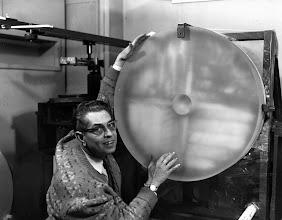 Photo: Marshall Martz finishing the 30 inch mirror in his basement 139 south main street Jamestown New York 1965