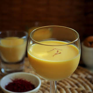 Saffron Badam Milk-Almond milk with saffron.