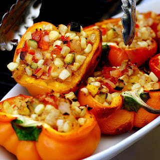 Smoke-Roasted Bell Peppers Stuffed With Garden Vegetables.