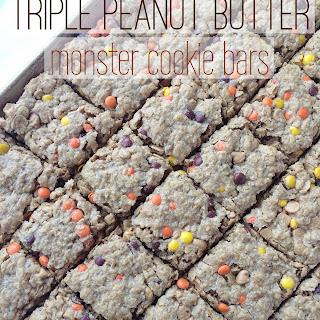 (no flour!) Triple Peanut Butter Monster Cookie Bars