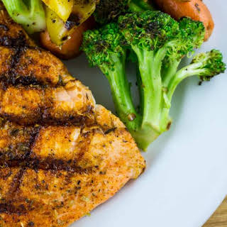Grilled Spice Rubbed Salmon.