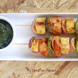 Vegetable Paneer Skewers Or Paneer Tikka