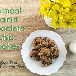 Gluten-Free Oatmeal Walnut Chocolate Chip Cookies.