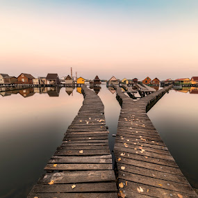sunset by the lake by Razvan Teodoreanu - Buildings & Architecture Bridges & Suspended Structures