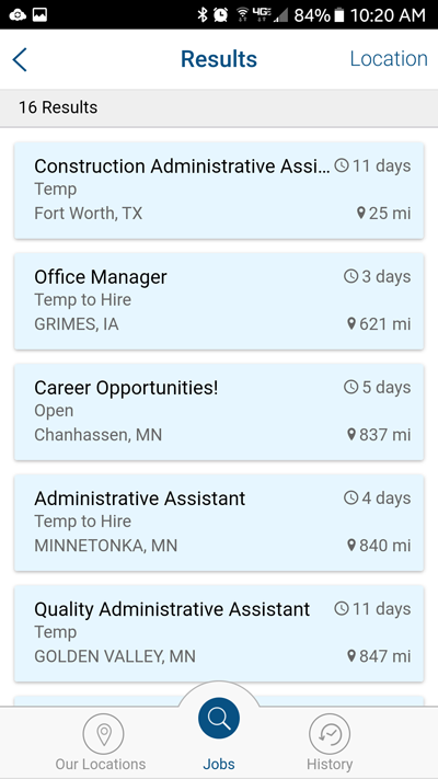 Pro Staff Job Search- screenshot