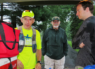 "Photo: Preparing to start day#1. The driving rain did not seem to interfere with Chuck's frame of mind at all saying ""I've trained for three years in all kinds of weather!!"" Check out Keith's shirt - he was MUCH wetter than that by the time we were done! — with Chuck Stone, Harvey Boatman and Keith Stone in Wrightstown, PA."