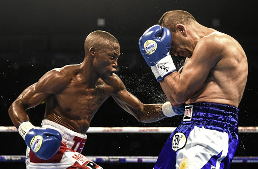 Zolani Tete lands a punch at Andres Narvaez during their fight in Ireland.