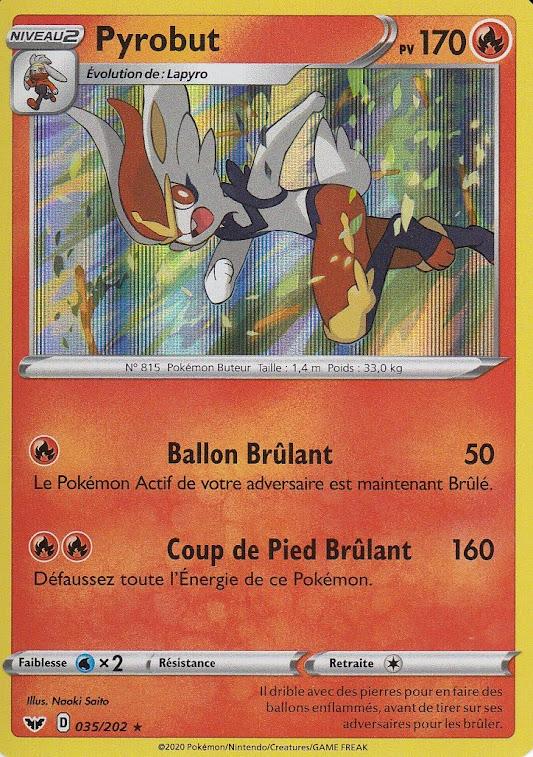 Carte Pokemon Neuve Française EB01:Épée et Bouclier 035//202 Pyrobut Holo