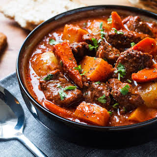 Slow Cooker Beef Stew with Butternut, Carrot and Potatoes.