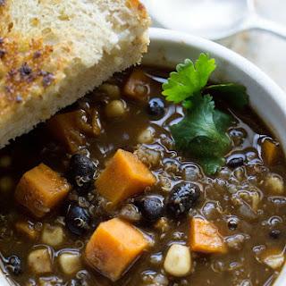 Southwest Sweet Potato Quinoa Black Bean Chili [60-Minute Slow Cooker]