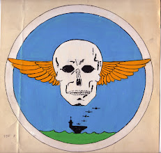Photo: VBF-8 insignia approved 15 May 1945. Squadron established on 2 January 1945 and disestablished on 23 November 1945.Naval Aviation History