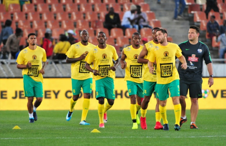 South African players warms up prior to the 2018 FIFA World Cup, Qualifier match between South Africa and Senegal at Peter Mokaba Stadium on November 10, 2017 in Polokwane, South Africa.