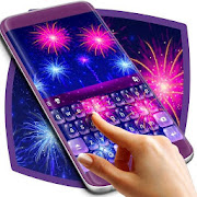 Pink and Blue Fireworks Keyboard