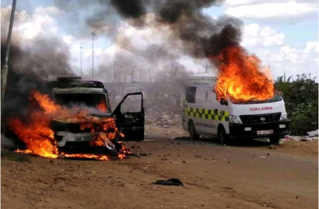 An ambulance and police vehicle were among three vehicles set alight by community members in Boikhutso on Tuesday.