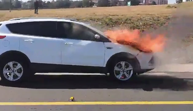 Ford Kuga on fire