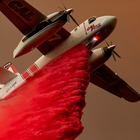 Holy Fire 2 by Mark Ritter - Transportation Airplanes ( plane, drop, macro, holy, wildfire, fire, brishfire, california, retardant )