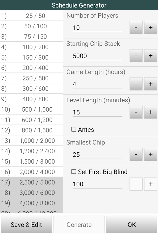 Poker blind and time calculator