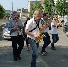 Photo: Fr.v. Stefan Sandberg klarinett, David Bäck sax, Marcus Ahlberg trombon, Håkan Strängberg trombon