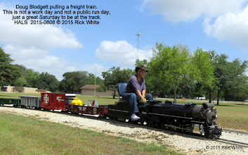 Photo: Doug Blodgett pulling a freight train.  This is not a work day and not a public run day, just a great Saturday to be at the track.  HALS  2015-0808 © 2015 Rick White