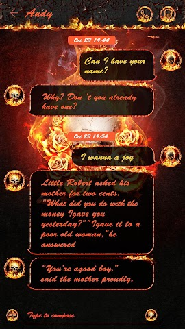 android GO SMS THE FLAME SKULL THEME Screenshot 2