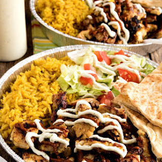 Halal Cart-Style Chicken and Rice with White Yogurt Sauce.