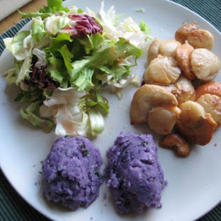 Scallops With Truffle-scented Violette Potatoes.