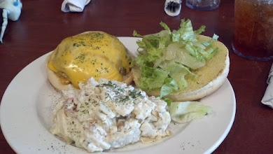 Photo: my cheeseburger and baked potato salad - it was scrumptous!