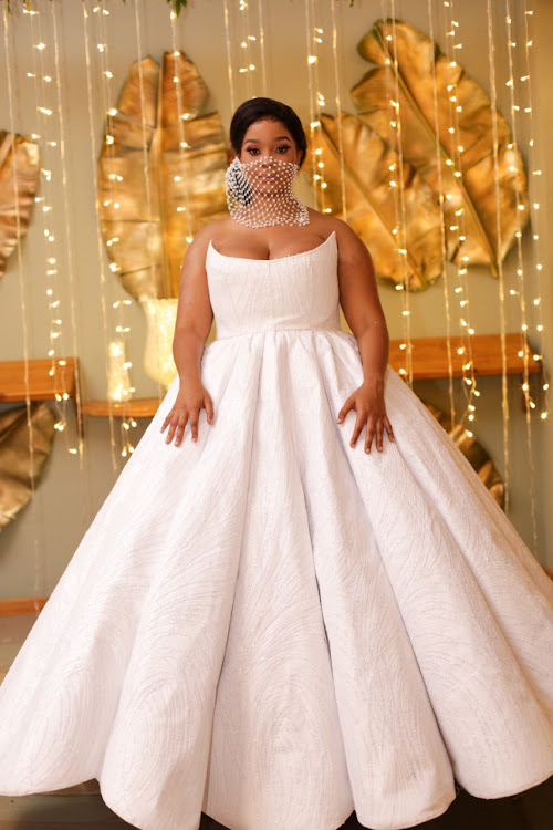Nonka (Thuthuka Mthembu's) bridal gown was jokingly called the 'social-distancing' dress because of the width of its full skirt.