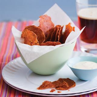 Salami Chips with Grainy Mustard Dip recipe   Epicurious.com.