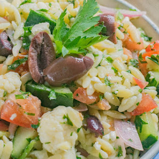Marinated Cauliflower Greek Orzo Salad.