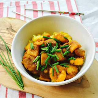 Squid Curry With Turmeric Rice.