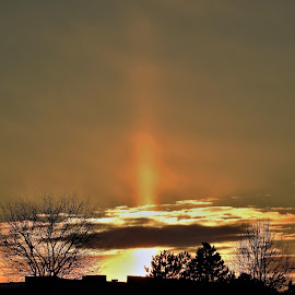 Sun Pillar by Kathy Woods Booth - Landscapes Sunsets & Sunrises ( pillars, sunlight, dusk, sunset, sundown )