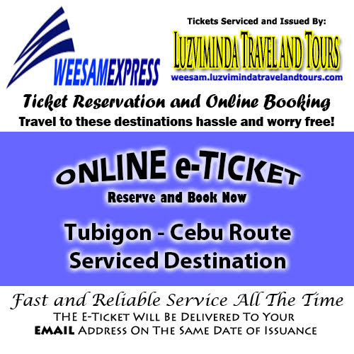 Weesam Express Tubigon-Cebu Route Ticket Reservation and Online Booking