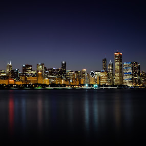 Chicago Skyline by Andrea Silies - City,  Street & Park  Skylines ( skyline, buildings, night, chicago, landscape, city, nightscape,  )