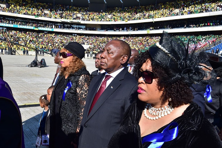 President Cyril Ramaphosa and Winnie Madikizela Mandela's daughters. Picture: GCIS