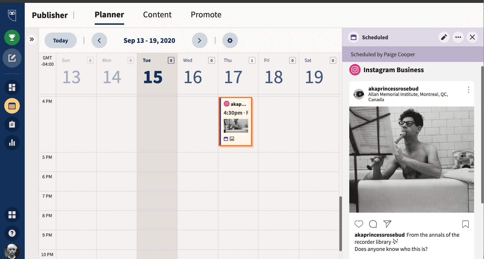 scheduling Instagram posts with Hootsuite