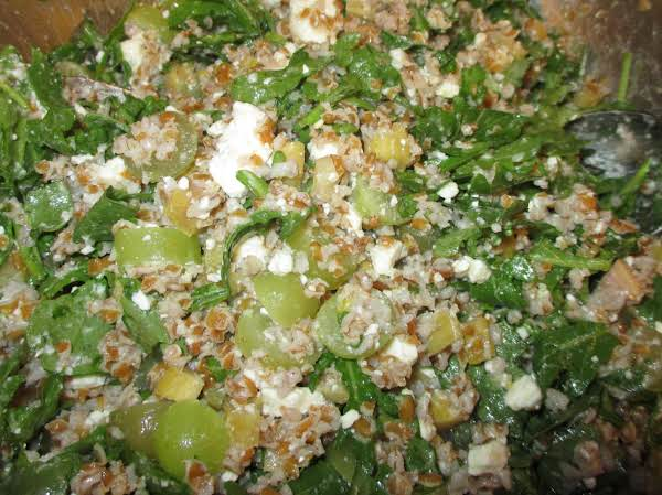 Bulgur Wheat & Feta Salad With Pickles & Grapes Recipe